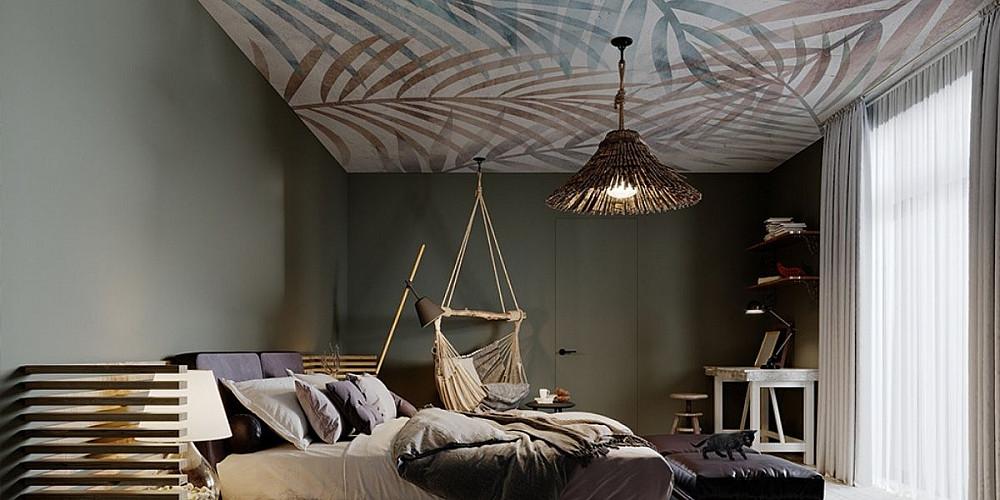 Идея за тавана в спалнята - фототапет