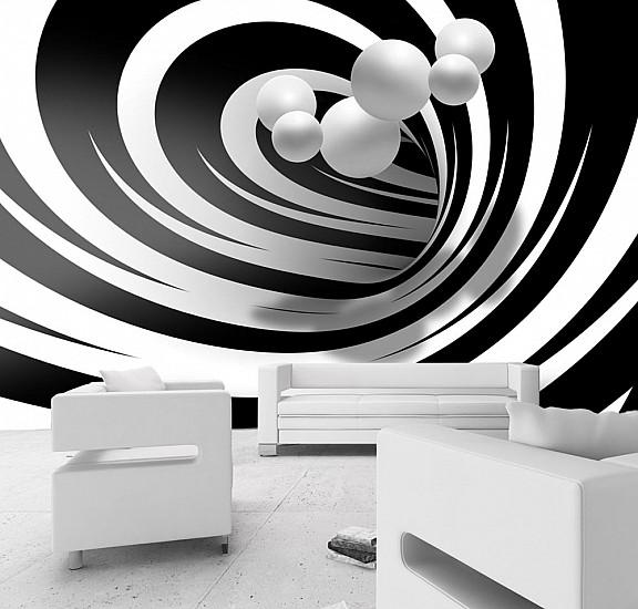 Фототапет - Twisted In Black & White, Фототапети, Абстракции