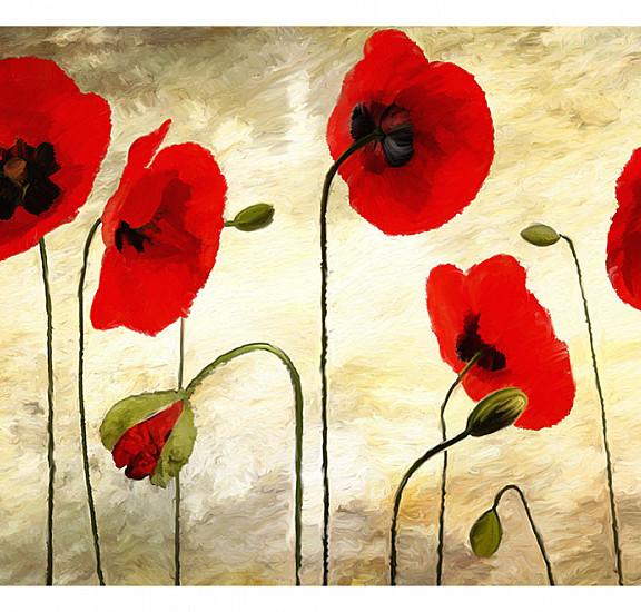 Фототапет - Golden Field of Poppies, Фототапети, Цветя