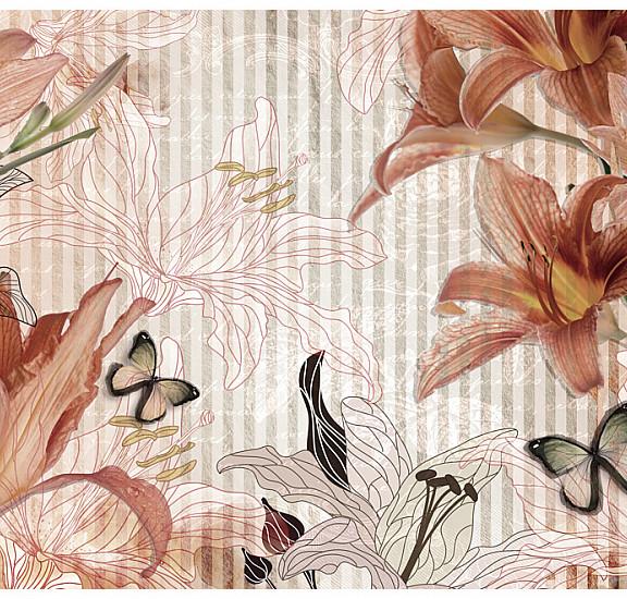 Фототапет - Flowers and butterflies, Фототапети, Фонове и десени