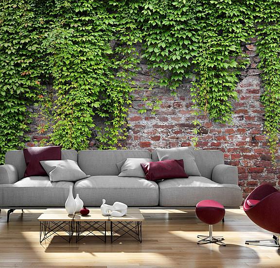 Фототапет - Brick and ivy, Фототапети, Фонове и десени