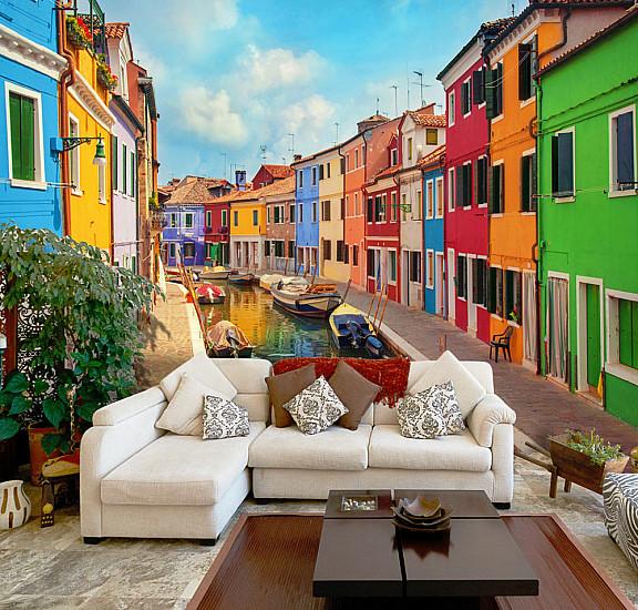 Фототапет -  Colorful Canal in Burano, Фототапети, Градове