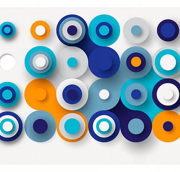 Фототапет - Geometry Of Blue Wheels, Фототапети, Фонове и десени