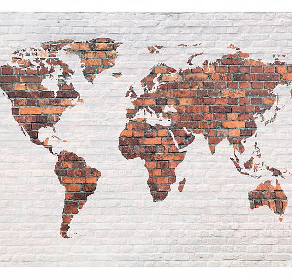 Фототапет - World Map: Brick Wall, Фототапети, Фототапети